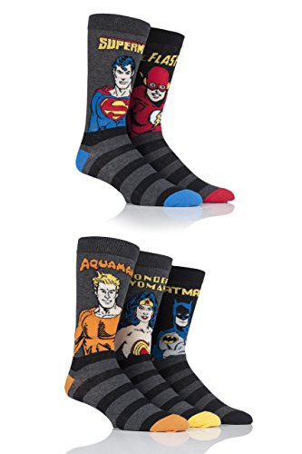Mens 5 Pair SockShop Justice League Aquaman, Flash, Superman, Batman and Wonder Woman Socks - Assorted 13-15 (Batman Sock Women)