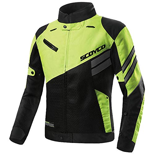 SCOYCO Motorcycle Jacket Motor-racing Shockproof Breathable Protective Clothing Motocross Gear Off-Road Motorcycle Jacket (Green,M)