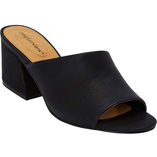 (Comfortview Women's Plus Size The Bailey Mule - Black, 10 W )
