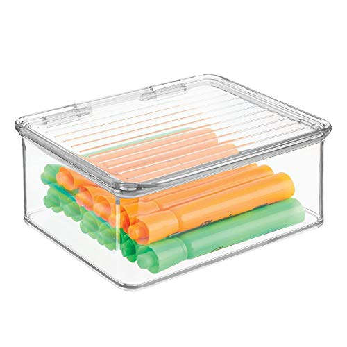 mDesign Small Mini Plastic Stackable Home, Office Supplies Storage Organizer Box with Attached Hinged Lid - Holder Bin for Note Pads, Gel Pens, Staples, Dry Erase Markers, Tape - - Storage Attached Lid