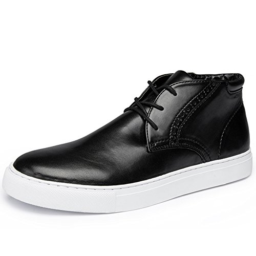 Men's Faux Leather High-Top Casual Shoes Fashion Sneakers Chukka Boot(9.5D (M) US, Black)