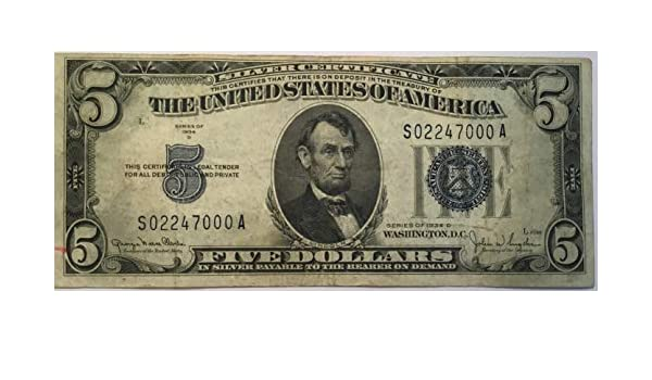 Amazon.com: 1934 D Blue Seal Five Dollar Silver certificate US Note ...