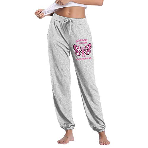Breast Cancer Awareness Butterfly Pink Ribbon Women's Drawstring Casual Yoga Workout Sweatpants Pants