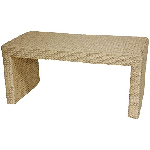 Living Room Rattan End Table (Oriental Furniture Simple, Natural Fiber Asian Furnitue and Decor 36-Inch Woven Water Hyacinth Rattan Style Japanese Design Coffee Table)