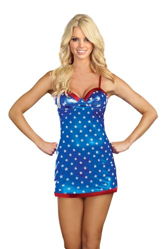 Dreamgirl Stars and Stripes Mini Dress, Multi-Colored, (Adult Sexy Star)