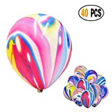 Divine 40 Pcs/lot Rainbow Agate Marble Latex Balloons,Color Marble Tie Dye Swirl Effect Balloons for Wedding Birthday Baby Showers Christmas Festival Ceremony and Party Premium Quality Decoration