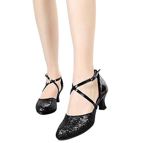 wealsex Chaussure Danse Latine Paillette Femme Danse de Salon Bout Fermé Talons Hauts 5.5 cm Sandales Brides Croisées Noir AlUhauBz