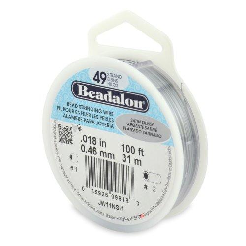 Beadalon 49-Strand Bead Stringing Wire, 0.018-Inch, Satin Silver, 100-Feet ()
