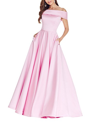 Geshun Women's Formal Satin Pink Prom Dresses Long Off The Shoulder Wedding Celebrity Party Gown With Pockets Size (New Gorgeous Pink Evening Dress)