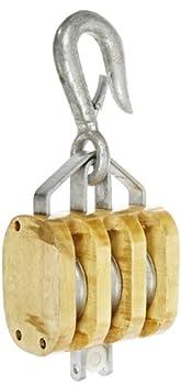 "Indusco 16900136 6"" Triple Wood Manila Rope Block with Hook, 3200 lbs Load Capacity, 3/4"" Rope, 3-1/2"" Sheave"