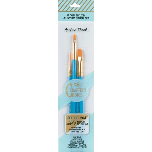 (Royal Langnickel Crafter's Choice Gold Nylon Acrylic Brush Set Value)