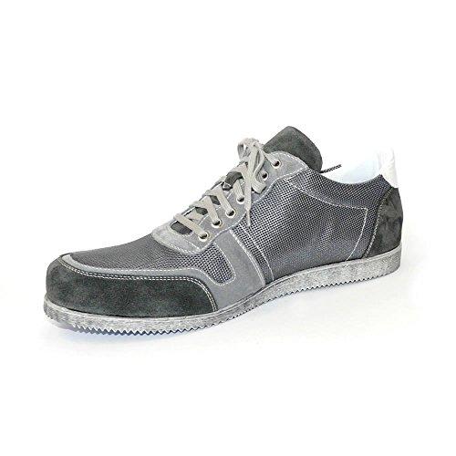 Worland Mod.1280 große Zahlen 100% Made in Italy - Herrenschuhe Sneaker Velour/Canvas (50, Grau)