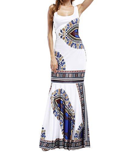 Exotic Print Smocked Waist Maxi Dress Plus S-XXL White ()