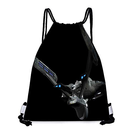 Made of polyester fabric futuristic star trek spaceships science fiction tv series enterprise black background sci fi Waterproof drawstring backpack W17.3 x L13.4 Inch