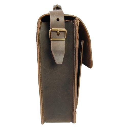 FREIHERR VON MALTZAHN 36 cm Aktentasche LEIBNIZ aus Leder für Macbook und Ordner, Made in Germany, incl. Lederpflege