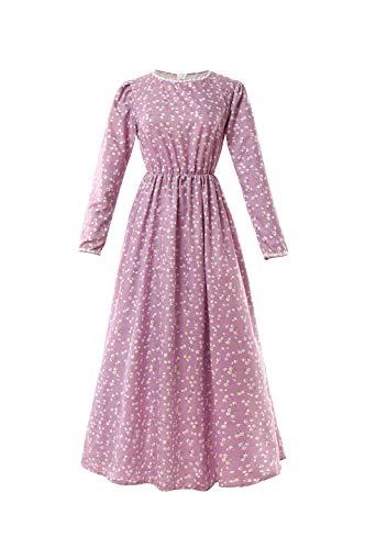- ROLECOS Pioneer Women Costume Floral Prairie Dress Deluxe Colonial Dress Laura Ingalls Costume (XXL, Purple)