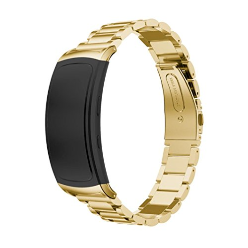 BESSKY Genuine Stainless Steel Bracelet Smart Watch Band Strap for Gear Fit2 SM-R360 (Gold)