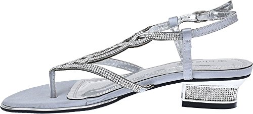 Womens stylish wedding evening party shoes mid heel diamante sandals Silver pkLecREgf