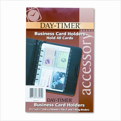 Business Card Holders for Looseleaf Planners, 5 1/2 x 8 1/2, 5/Pack (Packaging May Vary)