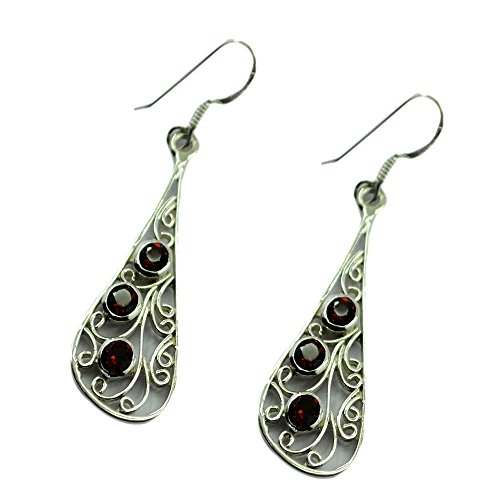 Drop Earrings For Women 925 Sterling Silver January Birthstone For Gift Jewelry Round (Faceted Garnet Post Earrings)