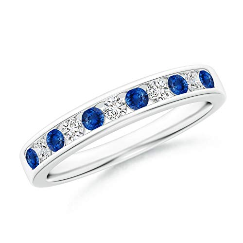Channel Set Sapphire and Diamond Semi Eternity Band in 14K White Gold (2.1mm Blue Sapphire) ()