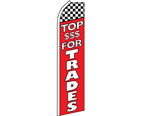 ALBATROS Top $$$ for Trades Red White with Checker Swooper Super Feather Advertising Flag for Home and Parades, Official Party, All Weather Indoors Outdoors