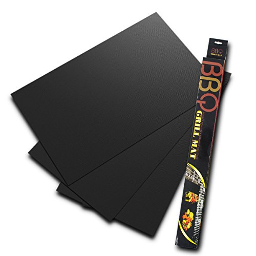 "BBQ Pad Grill Mat Set of 3 Non Stick Reusable Easy to Clean Heat Resistant Cooking Mats Works on Gas Electric and more 15.75""13"""