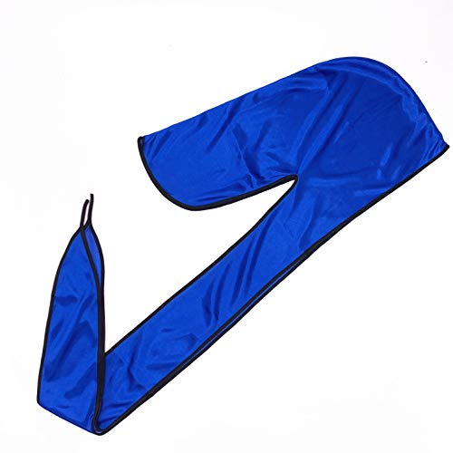 T&Z Unisex Cap Doo RAG Silky Hip-POP Fashion Headwear Light and Breathable durag ... (Royal Blue-Black Border)