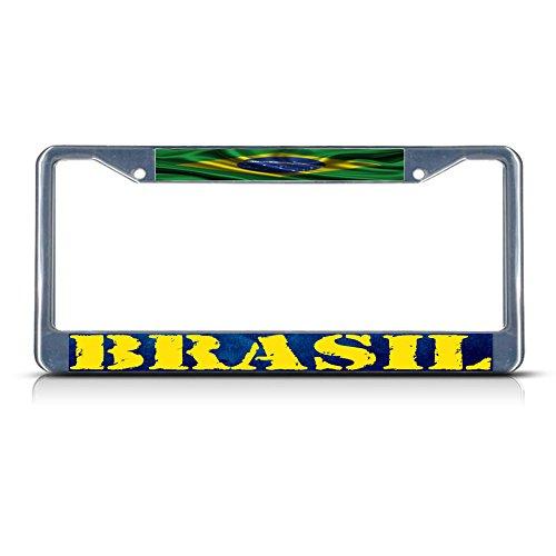 (Brasil, Brazilian Wavy Flag Brazil METAL Chrome License Plate Frame Tag Holder)
