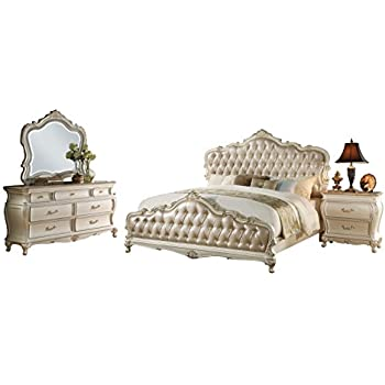 Acme Chantelle 4 Piece California King Bedroom Set, Rose Gold PU U0026 Pearl  White