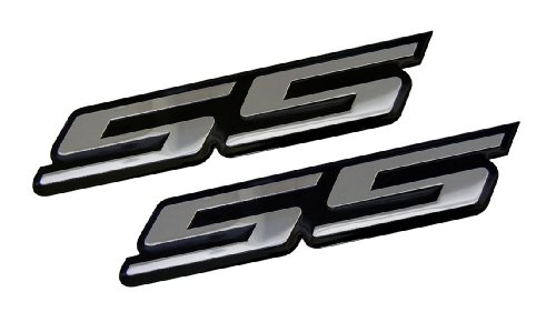 2 x (pair/set) SS Super Sport SILVER on BLACK Highly Polished Aluminum Silver Chrome Car Truck Engine Swap Badge for General Motors 454 S10 Cameo Xtreme Force Hugger Colorado Xtreme (S10 Truck Engine)
