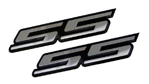2 x (pair/set) SS Super Sport SILVER on BLACK Highly Polished Aluminum Silver Chrome Car Truck Engine Swap Badge for General Motors 454 S10 Cameo Xtreme Force Hugger Colorado Xtreme SSR Silverado Intimidator Trail Blazer Malibu Opala Acadian Caprice Lumina Astra Corsa Meriva -