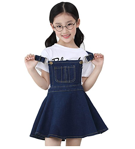 Kidscool Girls Big Bibs Adjustable Straps Denim Overall Tutu Dress,Blue,5-6 Years