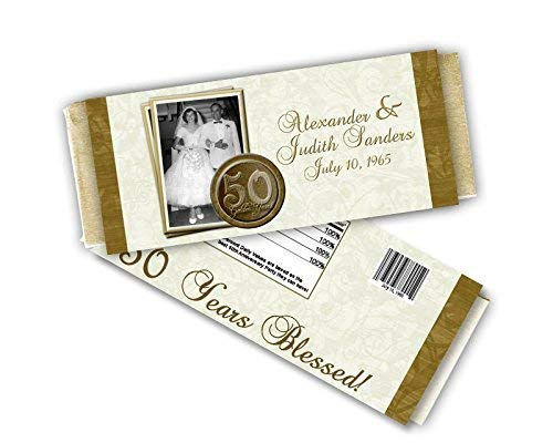 50th Wedding Anniversary Party Favor Candy Wrapper Golden