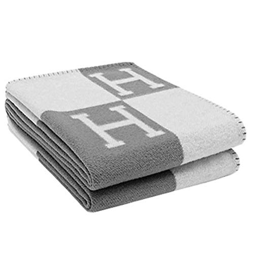 """H-Blanket Wool Cashmere Knitted Throw Blanket for Couch/Chair/Love Seat/Car Camping Blanket Shawl (55""""x63"""", Black) (Light Grey)"""