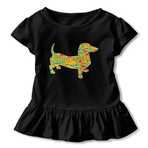 Butterfly Doxie Dachshund Toddler Baby Girls' Short Sleeve Ruffle T-Shirt Black