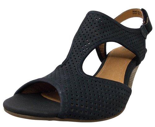 Clarks Mujeres Evant Julie Sandal Black Leather