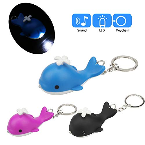 Glumes Cute Whale Keychain with LED Flashlight and Sound Effects 3D Cute Cartoon Key Holder For Children Designer Key Ring for Kids Christmas Thanksgiving Gift 1 PCS (Hot Pink) ()