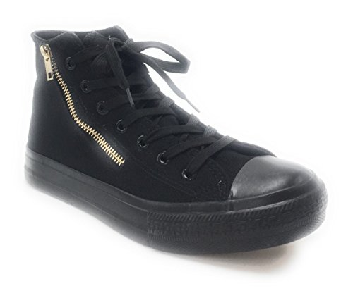 DEV Mens Casual High Top Canvas Lace Up Side Pocket Light Weight Skate Boot Shoes Black/Jwm-10 ThLU1yY