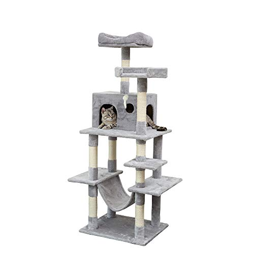 ABO Gear Cat Tree House Indoor Large Multi-Level Cats Towers Condo Cat Activity Trees Sisal Scratching Post and Hammock Platform Cozy Perches Cats Houses King Pets Play Houses Activitys Centre, Gray