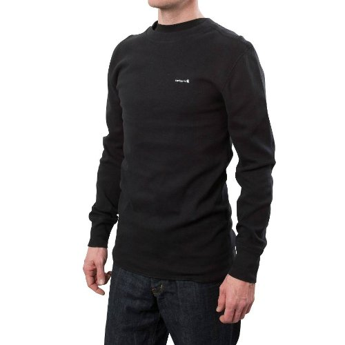 Carhartt Men's Big & Tall Heavyweight Cotton Thermal Crewneck Top,Black (Closeout),X-Large by Carhartt