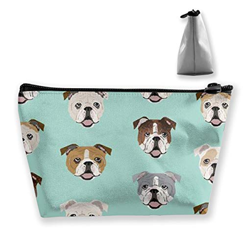 Women Stupid Funny English Bulldog Make Up Bag Organizer Multifunction Cosmetic Train Case Lazy Zipper Tote Bag Large Capacity for Makeup Brushes Digital Accessories Travel
