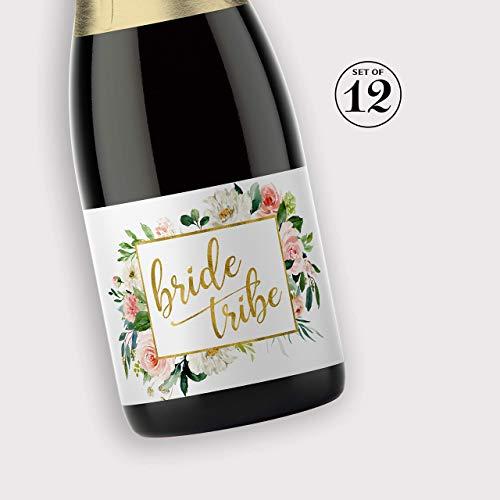 BRIDE TRIBE Mini Champagne Bottle Labels ● SET of 12 ● Blush Rose Bachelorette Party Mini Wine Labels, Bridal Shower Bride Squad Mini Champagne Labels BUBBLY for My Bride Tribe - Champagne Label