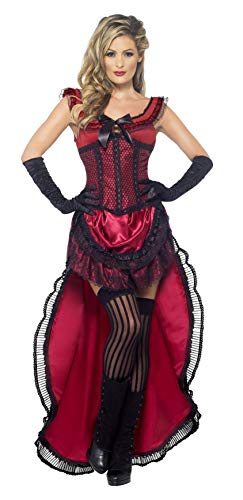 Smiffys Women's Western Authentic Brothel Babe Costume, Dress and Corset, Western, Serious Fun, Size 6-8, 45233 -