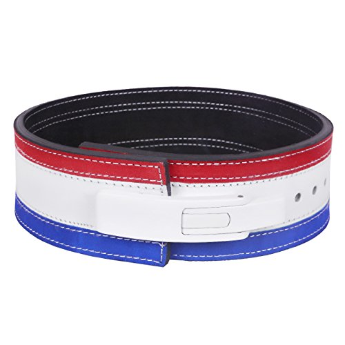 Hawk Lever Belt Tri Color USA FLAG Powerlifting Belt 10mm Weightlifting Belt TOP QUALITY HAND-CRAFTED, 1 YEAR WARRANTY!!! (Tri-Color, Small)