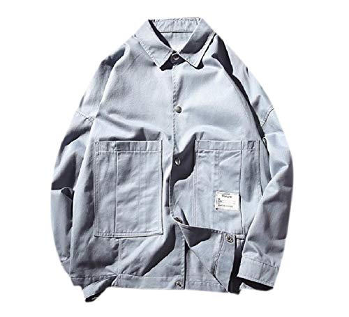 Blue Casual Howme Big Pockets Autumn Bomber Buckle Jacket Men Solid Stylish c0A0q6v1w