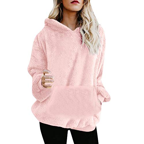 iDWZA Women Pure Winter Warm Wool Pockets Hooded Heat Sweatshirt Outwear Hoodie(L,Pink) -