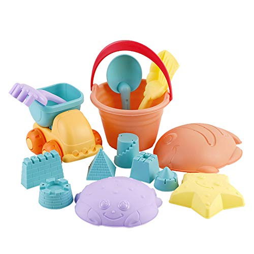 Jiayit US Fast Shipment Beach Toy 14 Pieces Children's Soft Rubber Beach Toys Set Play with Water Tools