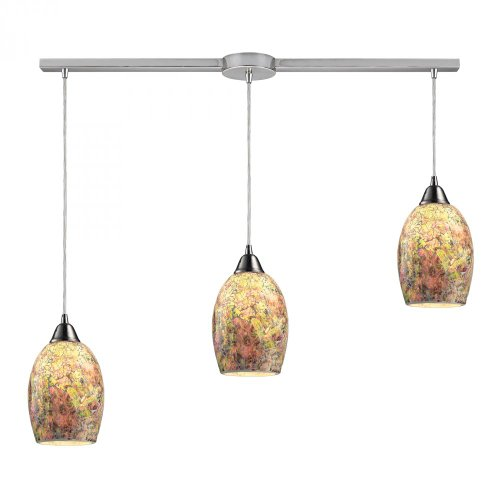 - Elk 73021-3L Avalon 3-Light Pendant with Hand Painted Crackled Glass Shade, 36 by 6-Inch, Satin Nickel Finish