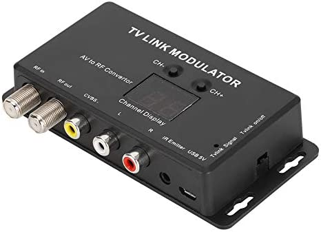 Universal Composite A//V to RF Coax Agile Modulator RF TV Micro Modulator RCA Compact RF Modulator Converter IR Extender Support PAL//NTSC UHF Modulator TV Link Modulator